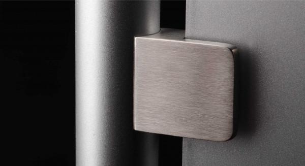 Edelstahl-Halter für Glas eckig 45x45mm PS: 1,5-10,76 mm | Rohr Ø 42,4