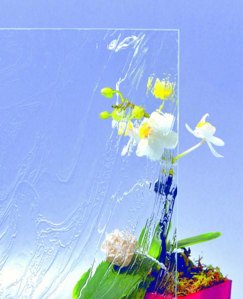 Glasmuster 9 x 9 cm - Barock weiß 4 mm