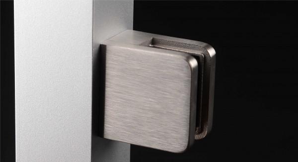 Glasklemmhalter Edelstahl eckig 45 x 45 mm PS: 1,5 - 10,76 mm | flach